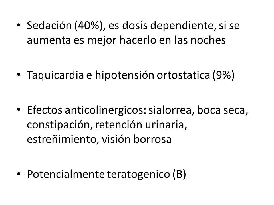 Sedación (40%), es dosis dependiente, si se aumenta es mejor hacerlo en las noches