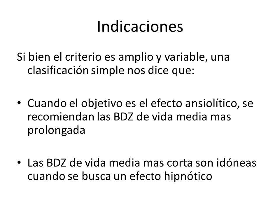 Indicaciones Si bien el criterio es amplio y variable, una clasificación simple nos dice que: