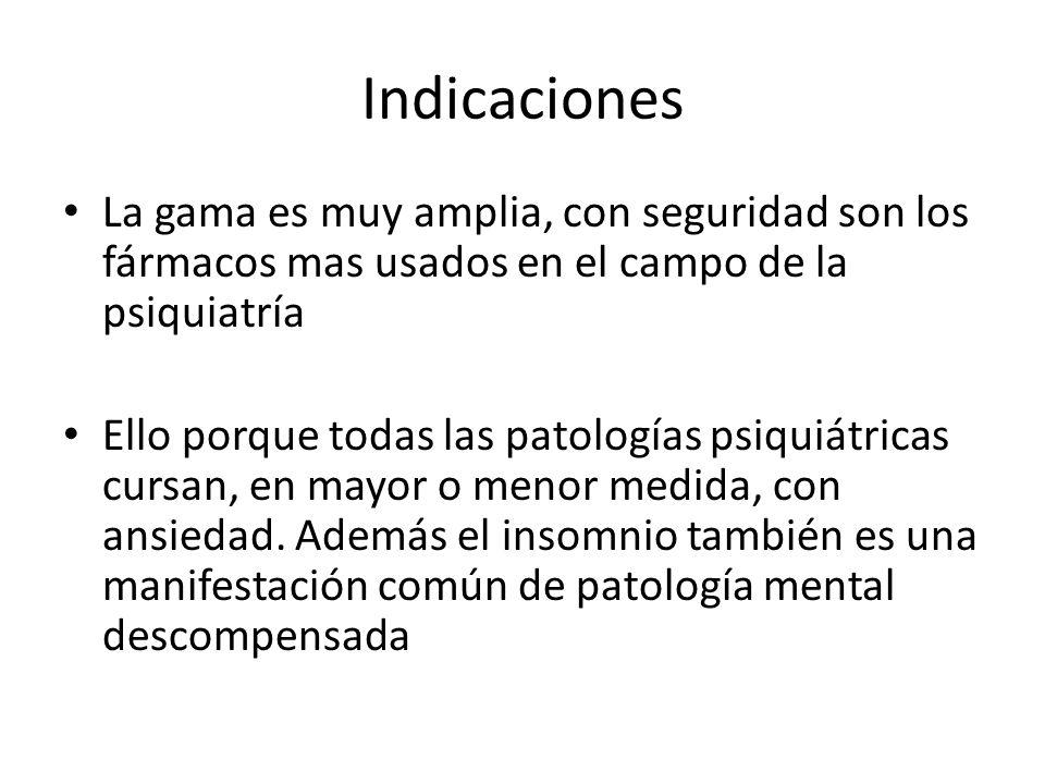 Indicaciones La gama es muy amplia, con seguridad son los fármacos mas usados en el campo de la psiquiatría.