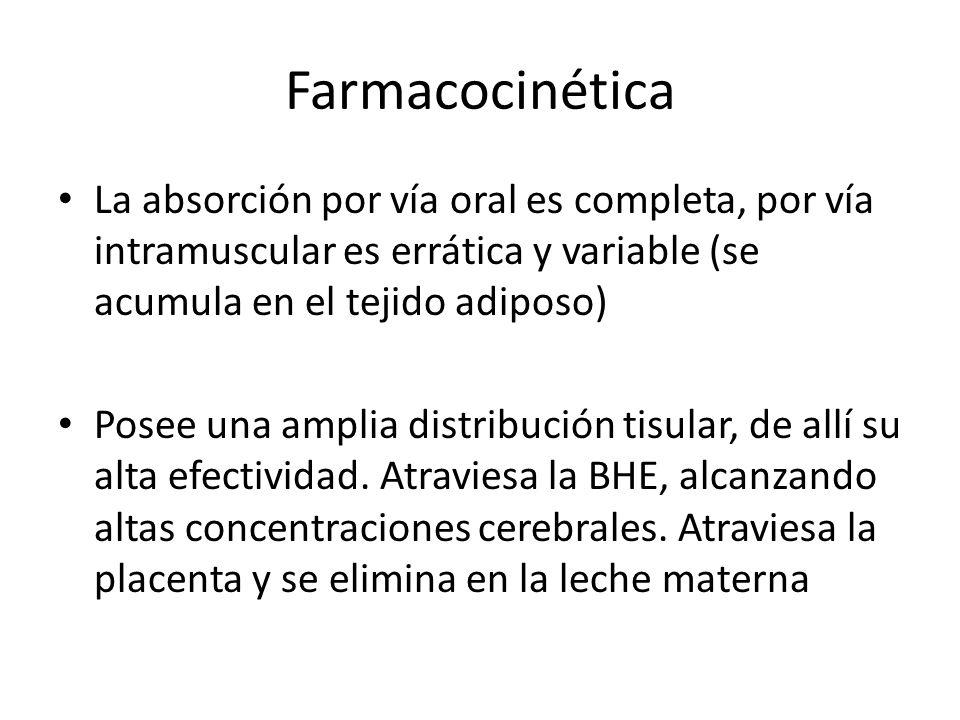 Farmacocinética La absorción por vía oral es completa, por vía intramuscular es errática y variable (se acumula en el tejido adiposo)