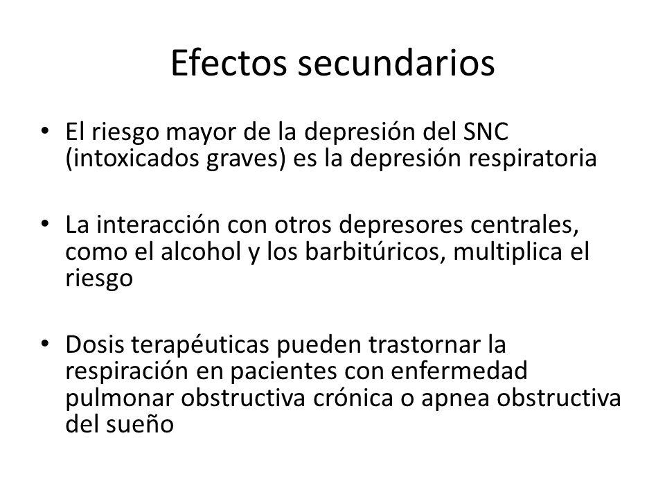 Efectos secundarios El riesgo mayor de la depresión del SNC (intoxicados graves) es la depresión respiratoria.