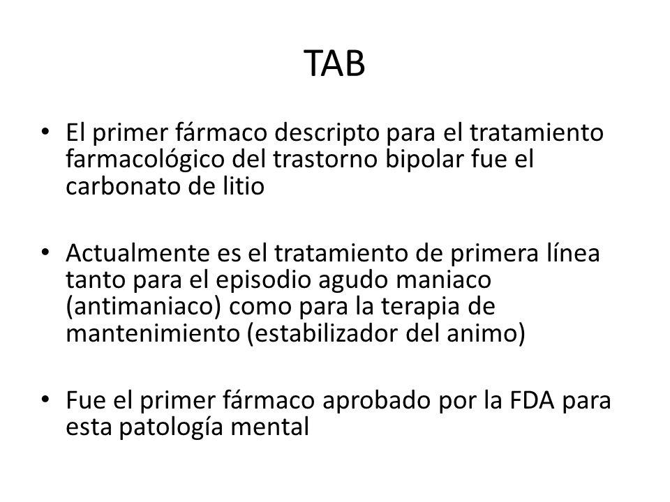 TAB El primer fármaco descripto para el tratamiento farmacológico del trastorno bipolar fue el carbonato de litio.
