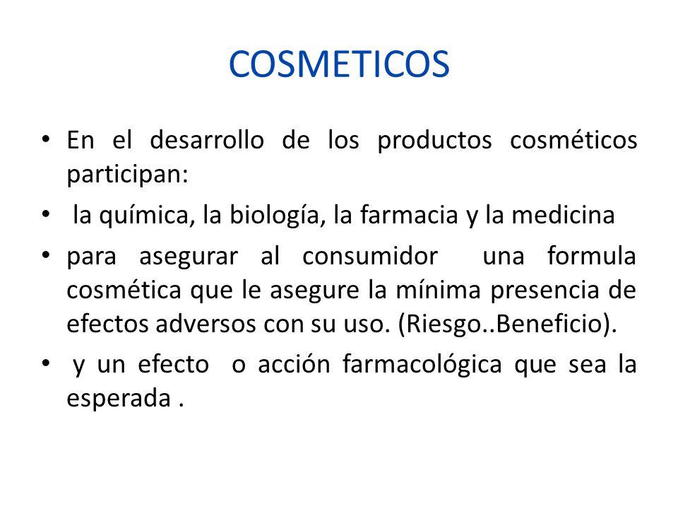 COSMETICOS En el desarrollo de los productos cosméticos participan: