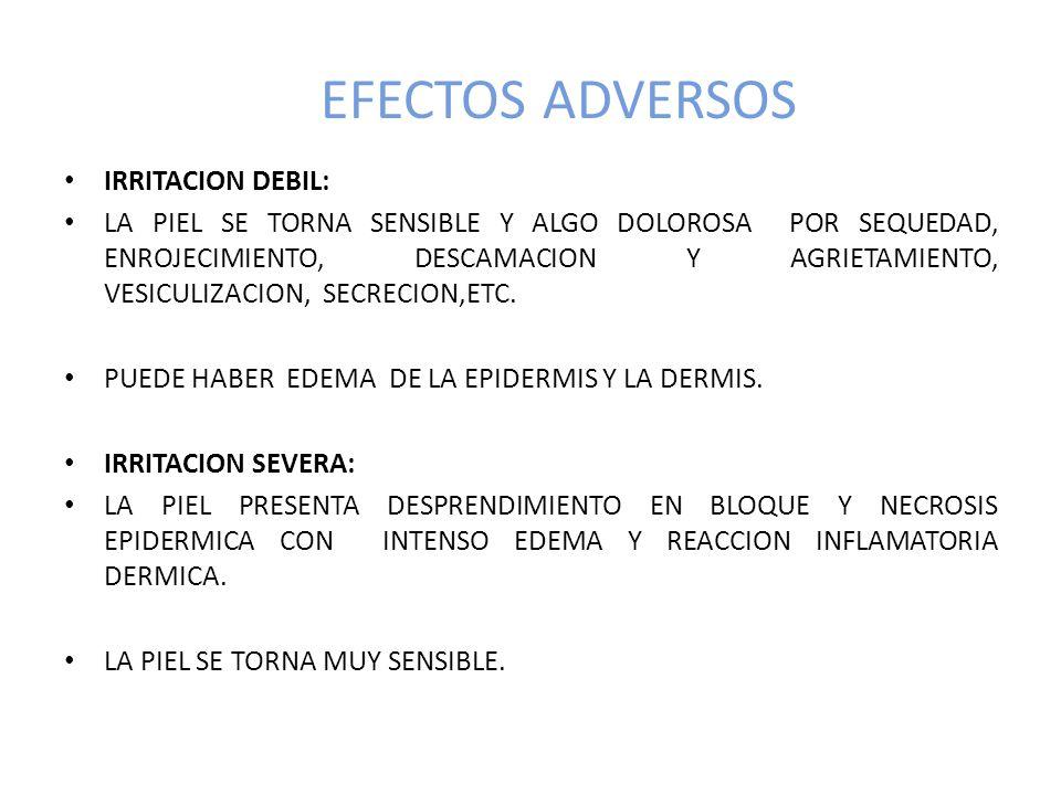EFECTOS ADVERSOS IRRITACION DEBIL: