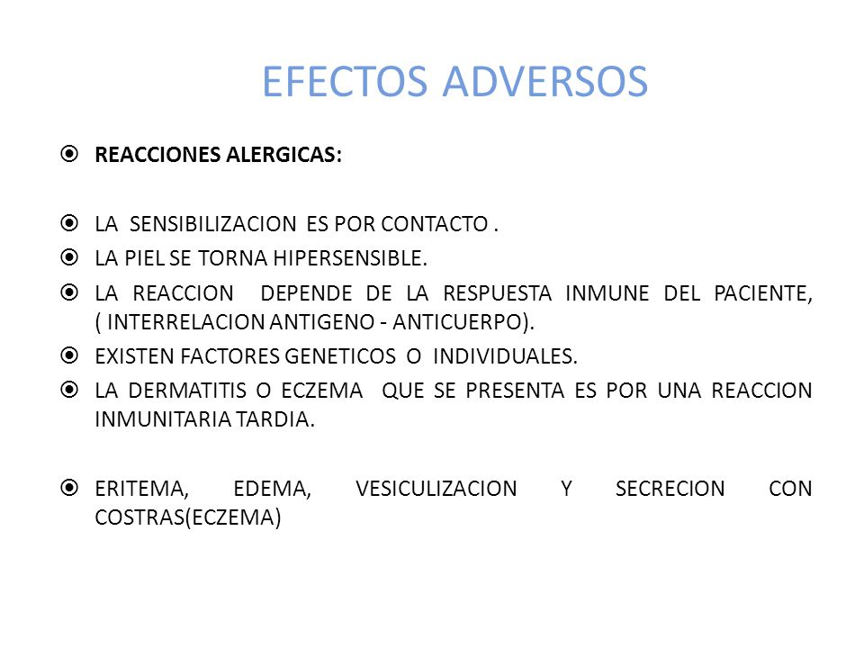 EFECTOS ADVERSOS REACCIONES ALERGICAS:
