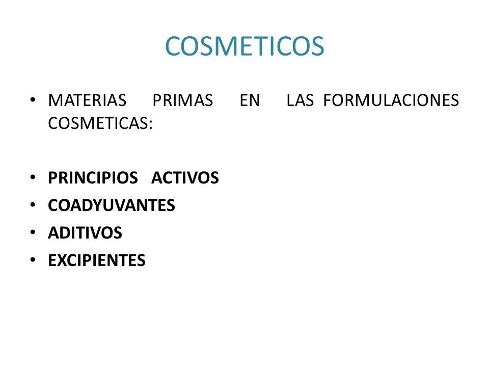 COSMETICOS MATERIAS PRIMAS EN LAS FORMULACIONES COSMETICAS: