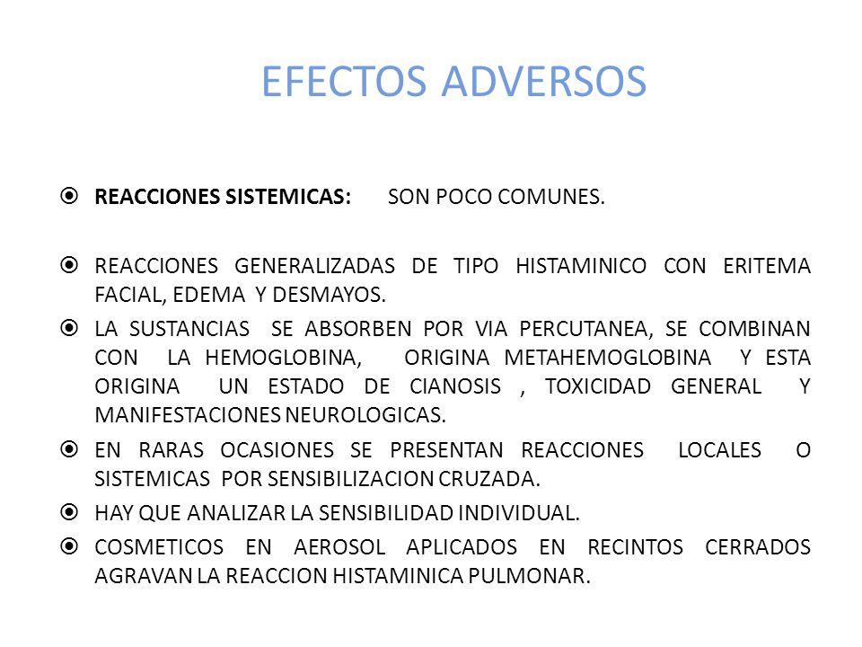 EFECTOS ADVERSOS REACCIONES SISTEMICAS: SON POCO COMUNES.