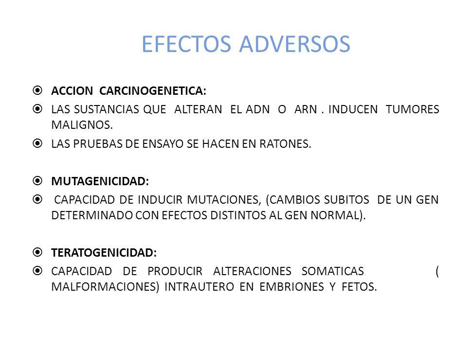 EFECTOS ADVERSOS ACCION CARCINOGENETICA:
