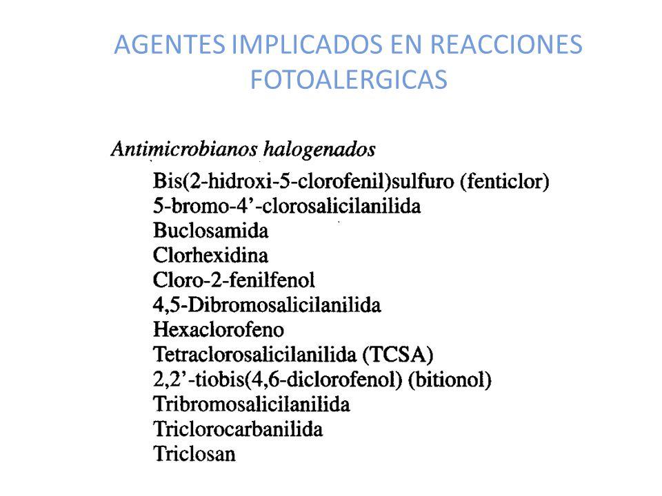AGENTES IMPLICADOS EN REACCIONES FOTOALERGICAS
