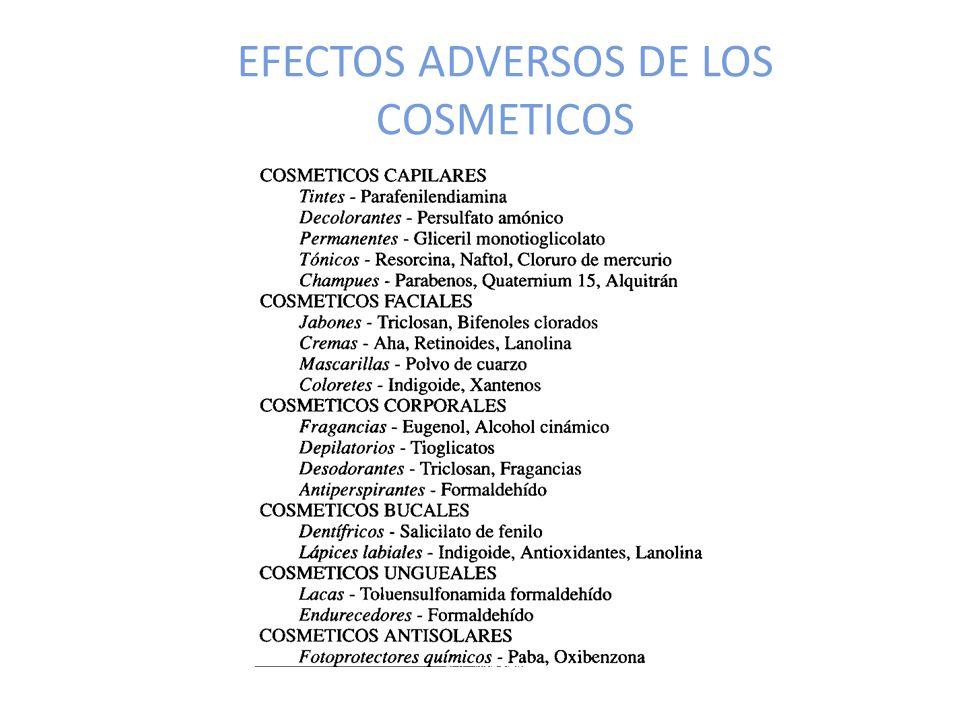 EFECTOS ADVERSOS DE LOS COSMETICOS