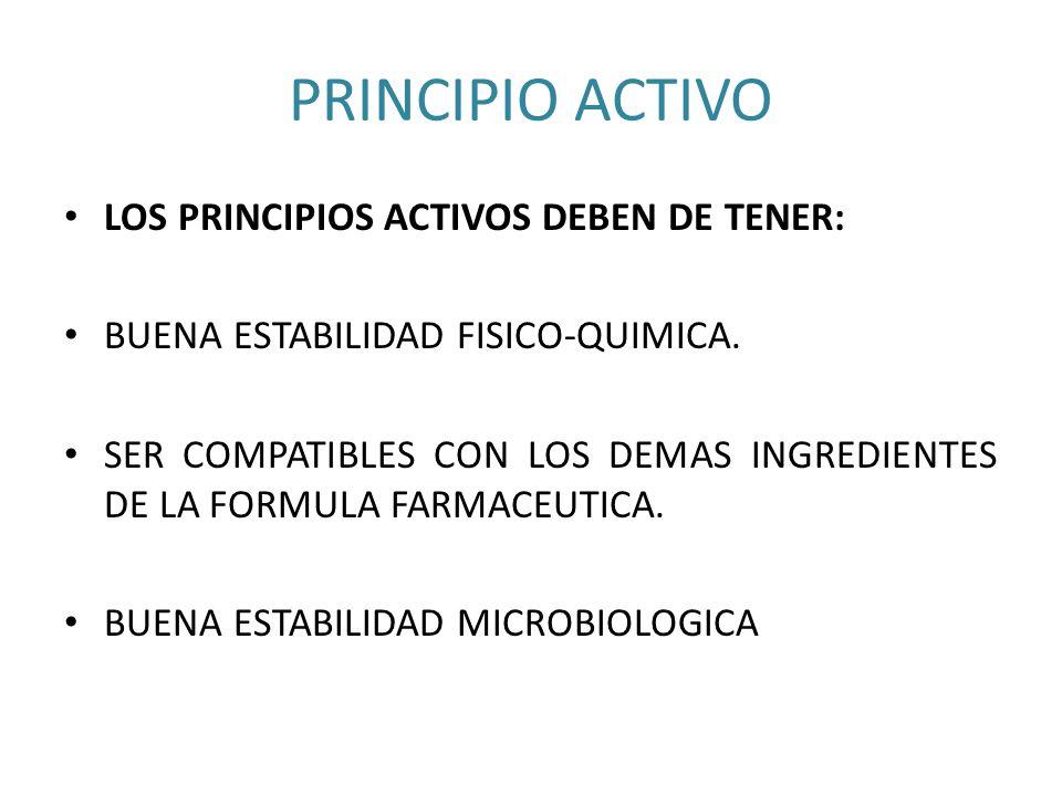 PRINCIPIO ACTIVO LOS PRINCIPIOS ACTIVOS DEBEN DE TENER: