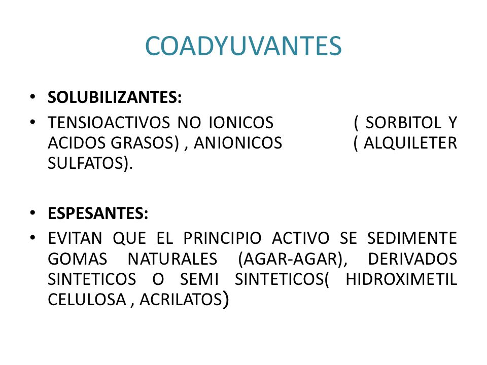 COADYUVANTES SOLUBILIZANTES: