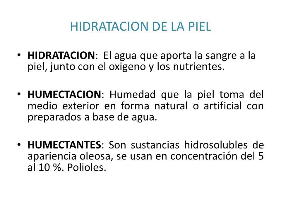 HIDRATACION DE LA PIEL HIDRATACION: El agua que aporta la sangre a la piel, junto con el oxigeno y los nutrientes.