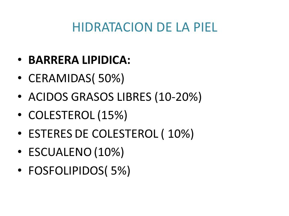 HIDRATACION DE LA PIEL BARRERA LIPIDICA: CERAMIDAS( 50%)