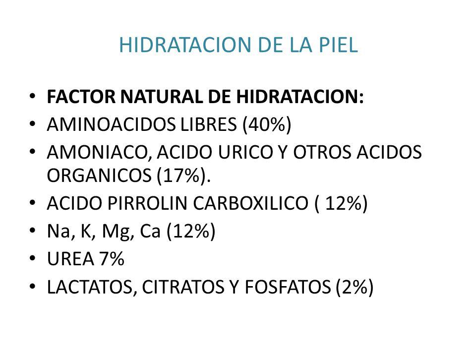 HIDRATACION DE LA PIEL FACTOR NATURAL DE HIDRATACION: