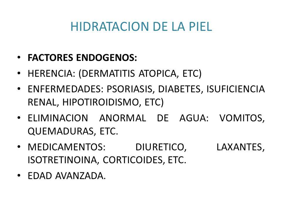 HIDRATACION DE LA PIEL FACTORES ENDOGENOS: