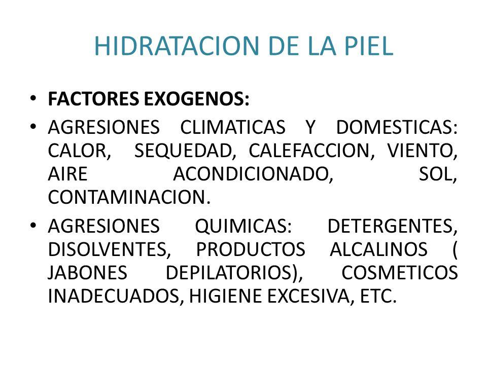 HIDRATACION DE LA PIEL FACTORES EXOGENOS: