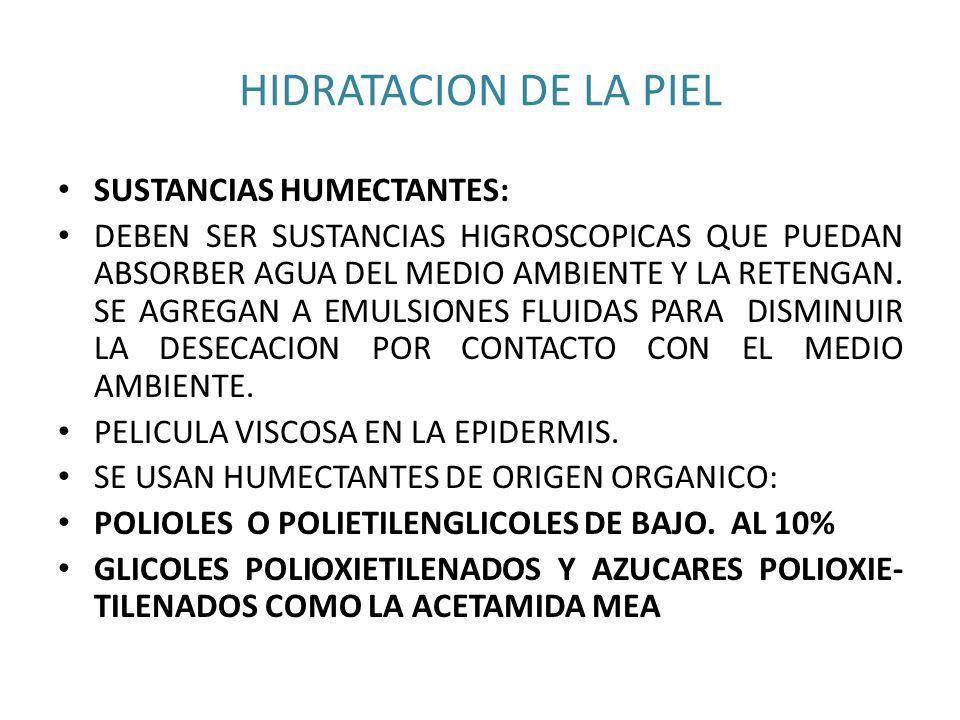 HIDRATACION DE LA PIEL SUSTANCIAS HUMECTANTES: