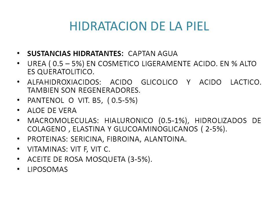 HIDRATACION DE LA PIEL SUSTANCIAS HIDRATANTES: CAPTAN AGUA