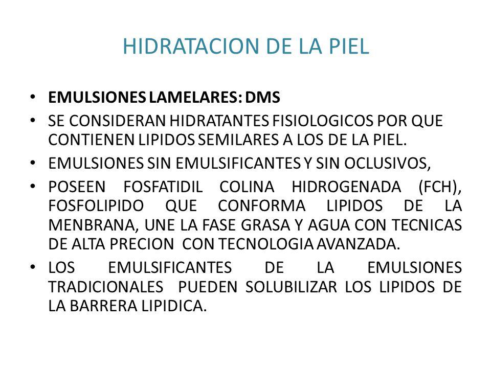 HIDRATACION DE LA PIEL EMULSIONES LAMELARES: DMS