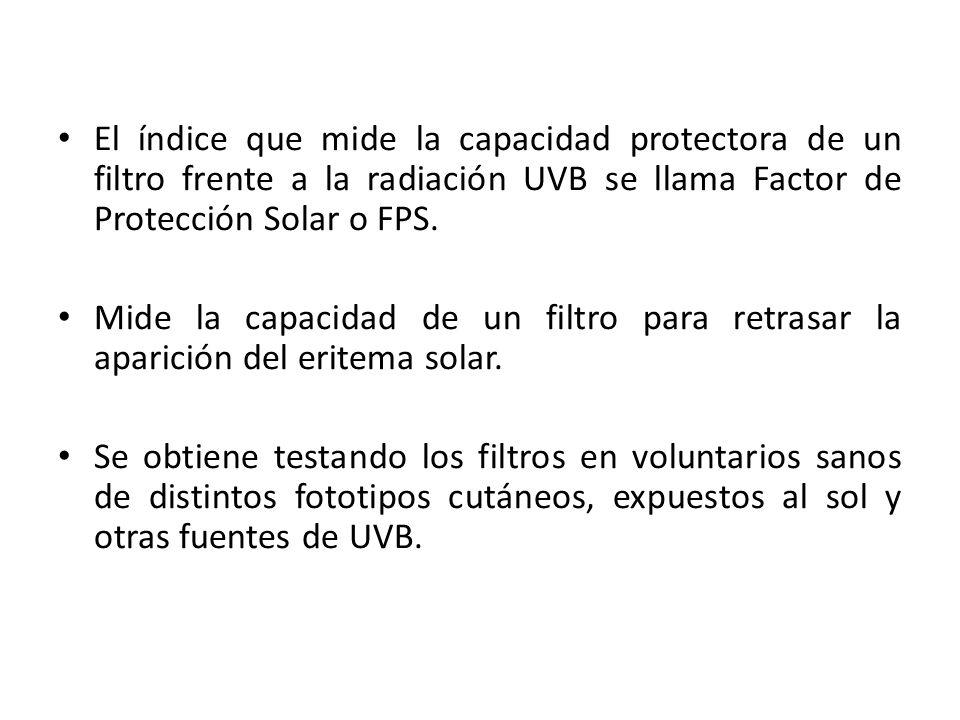 El índice que mide la capacidad protectora de un filtro frente a la radiación UVB se llama Factor de Protección Solar o FPS.