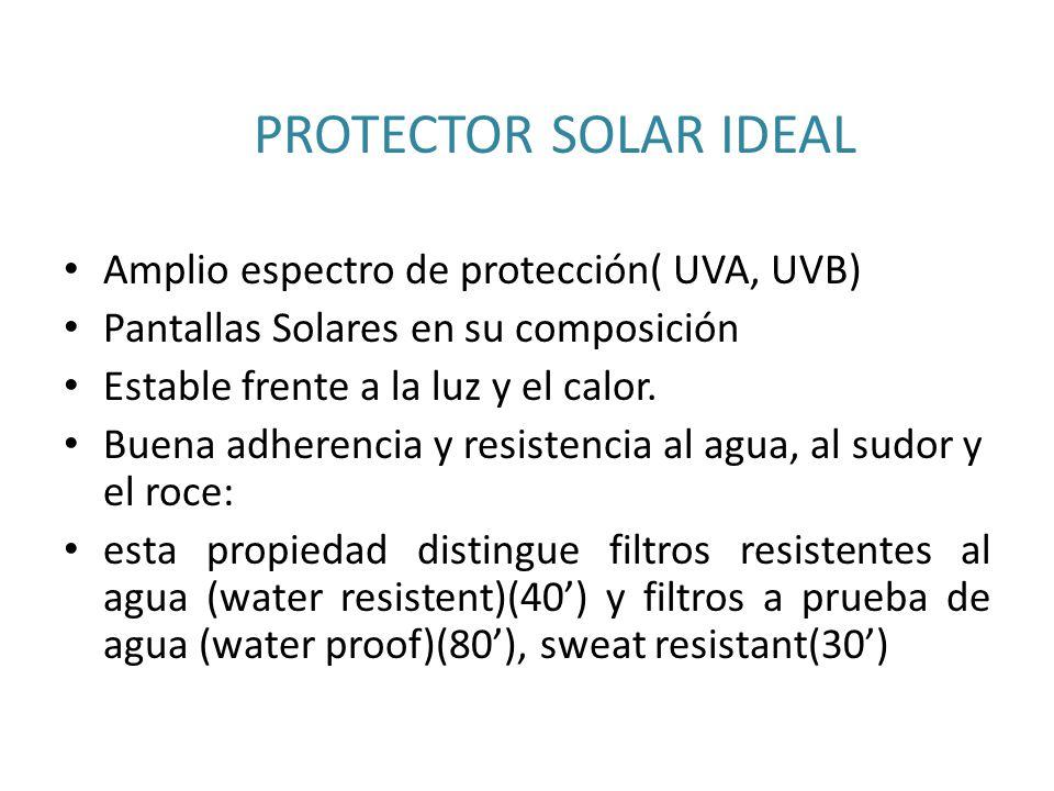 PROTECTOR SOLAR IDEAL El filtro ideal sería aquel que cumpliera las siguientes condiciones: