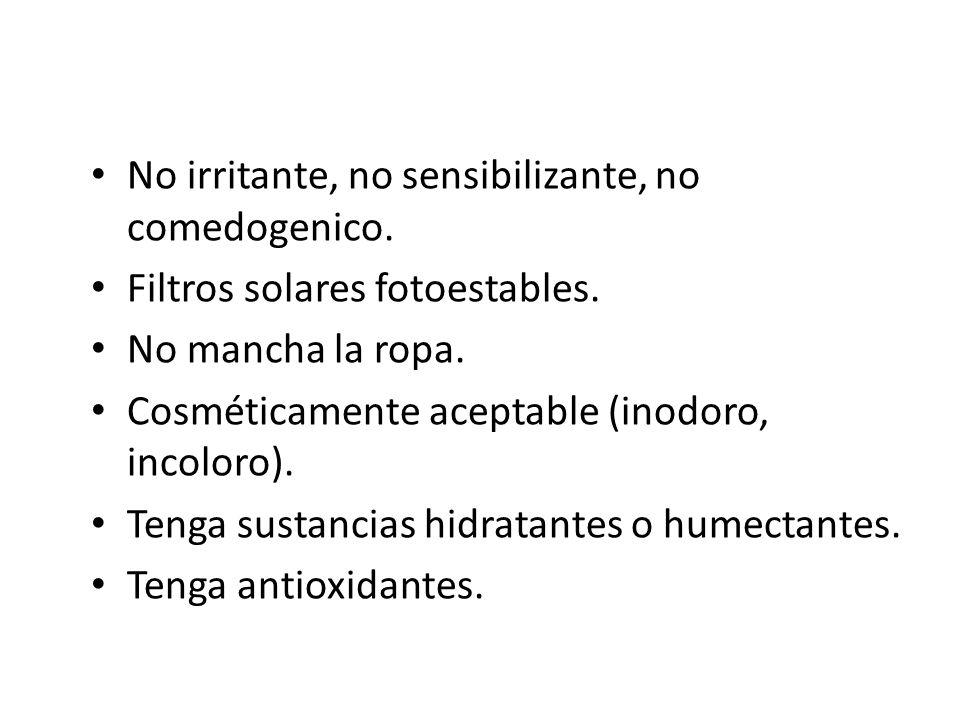 No irritante, no sensibilizante, no comedogenico.