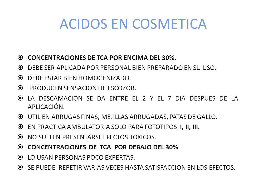 ACIDOS EN COSMETICA CONCENTRACIONES DE TCA POR ENCIMA DEL 30%.
