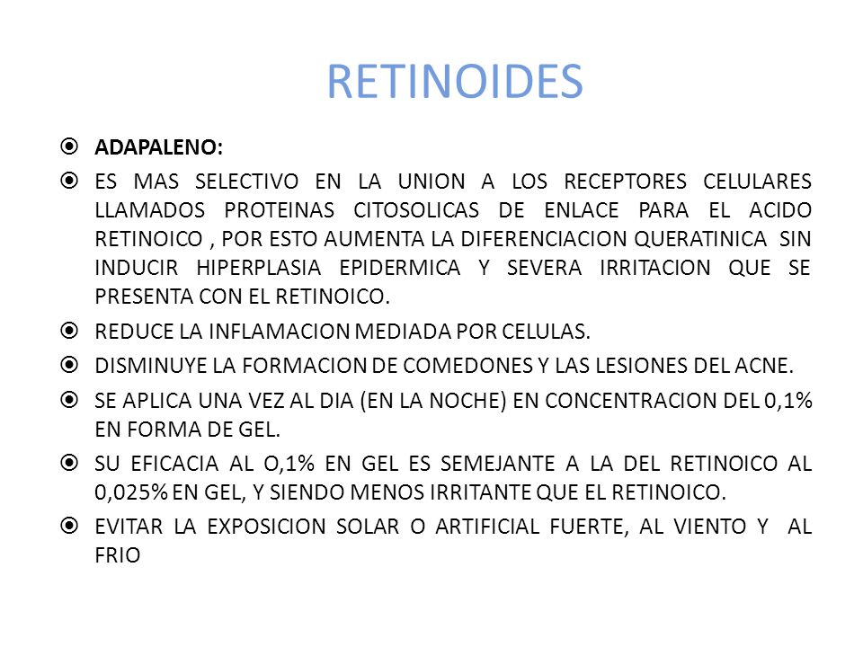 RETINOIDES ADAPALENO: