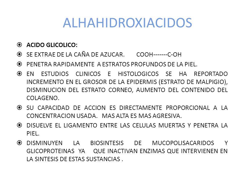 ALHAHIDROXIACIDOS ACIDO GLICOLICO: