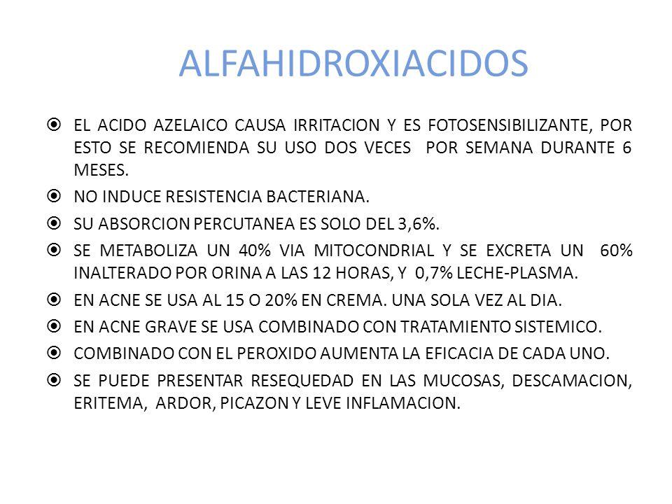 ALFAHIDROXIACIDOS EL ACIDO AZELAICO CAUSA IRRITACION Y ES FOTOSENSIBILIZANTE, POR ESTO SE RECOMIENDA SU USO DOS VECES POR SEMANA DURANTE 6 MESES.