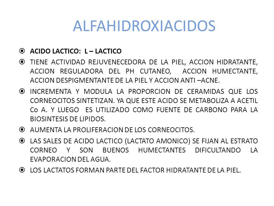 ALFAHIDROXIACIDOS ACIDO LACTICO: L – LACTICO