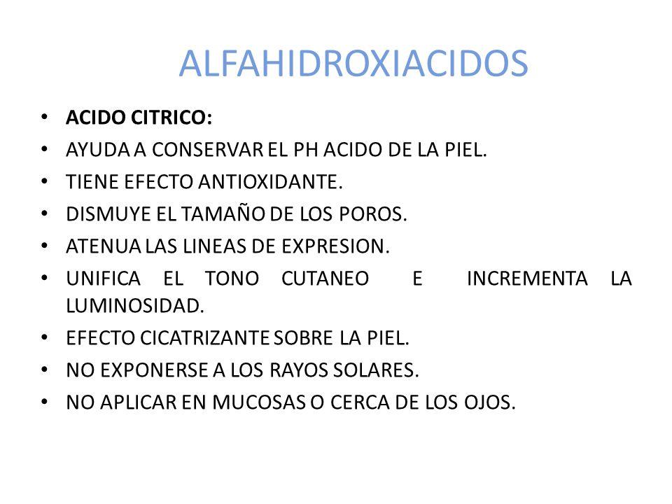 ALFAHIDROXIACIDOS ACIDO CITRICO: