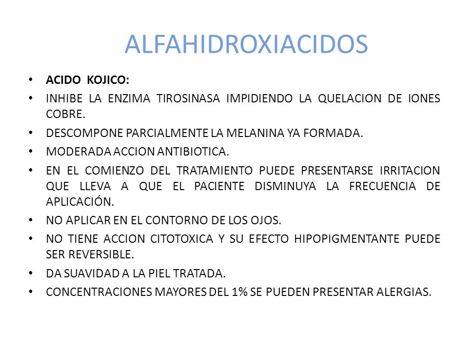 ALFAHIDROXIACIDOS ACIDO KOJICO: