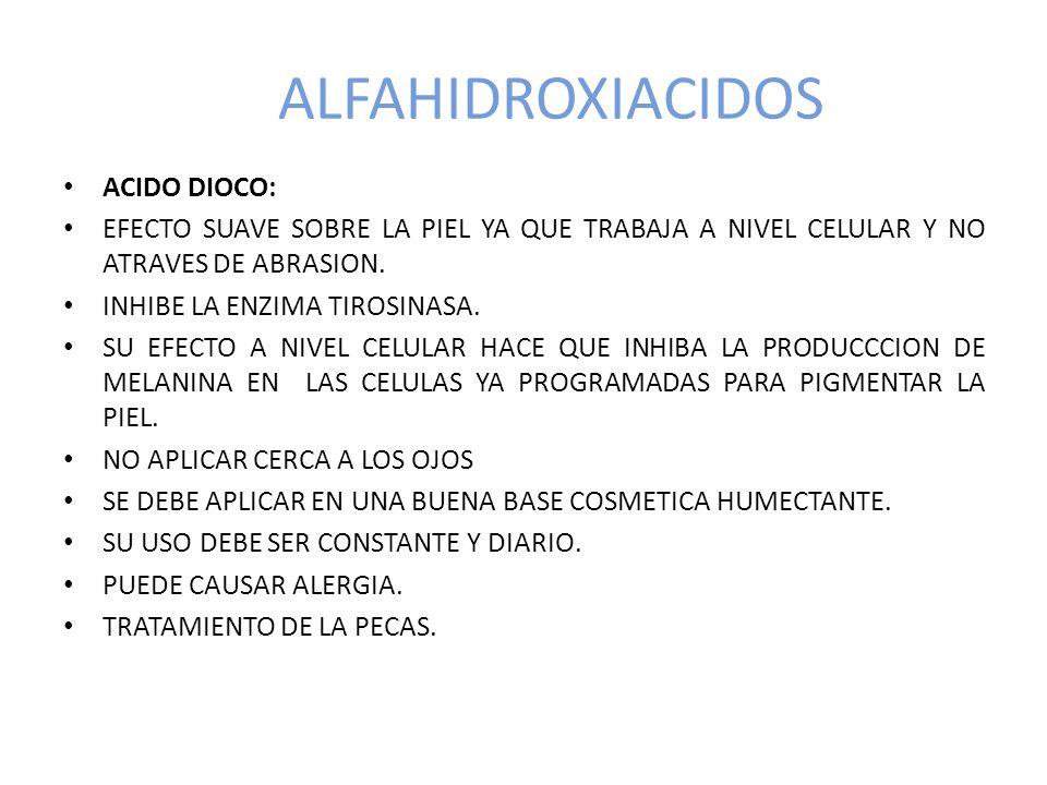 ALFAHIDROXIACIDOS ACIDO DIOCO: