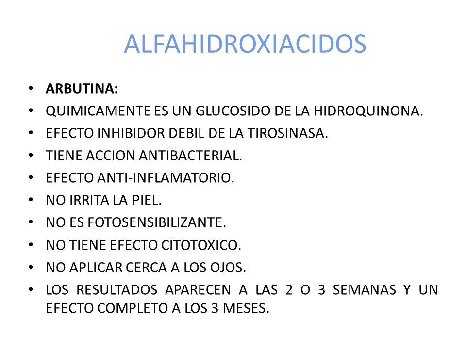ALFAHIDROXIACIDOS ARBUTINA: