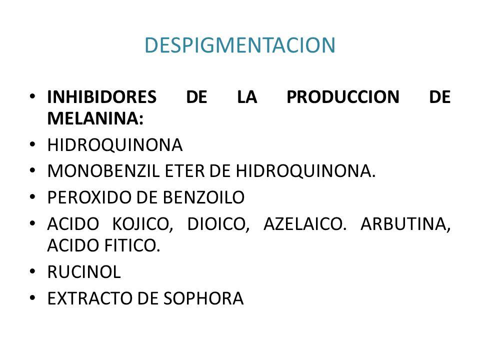 DESPIGMENTACION INHIBIDORES DE LA PRODUCCION DE MELANINA: HIDROQUINONA