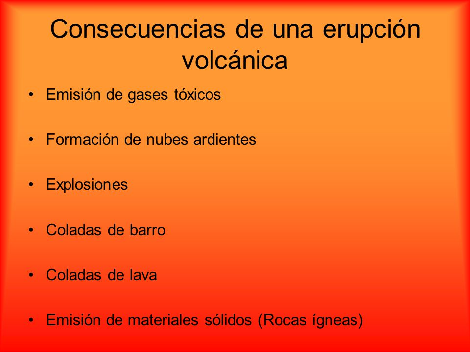Consecuencias de una erupción volcánica