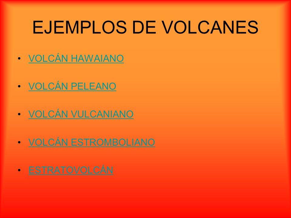 EJEMPLOS DE VOLCANES VOLCÁN HAWAIANO VOLCÁN PELEANO VOLCÁN VULCANIANO