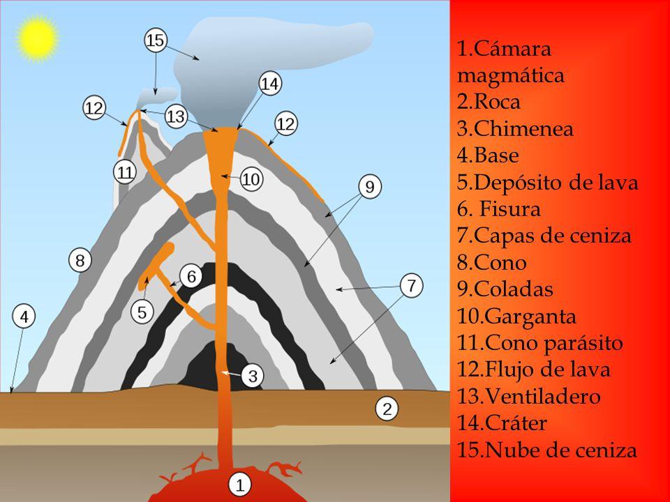 1.Cámara magmática 2.Roca. 3.Chimenea. 4.Base. 5.Depósito de lava. 6. Fisura. 7.Capas de ceniza.