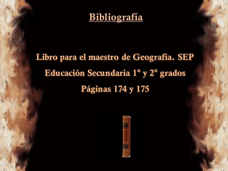 Bibliografía Libro para el maestro de Geografía. SEP