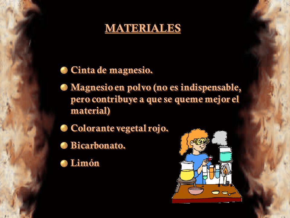 MATERIALES Cinta de magnesio.