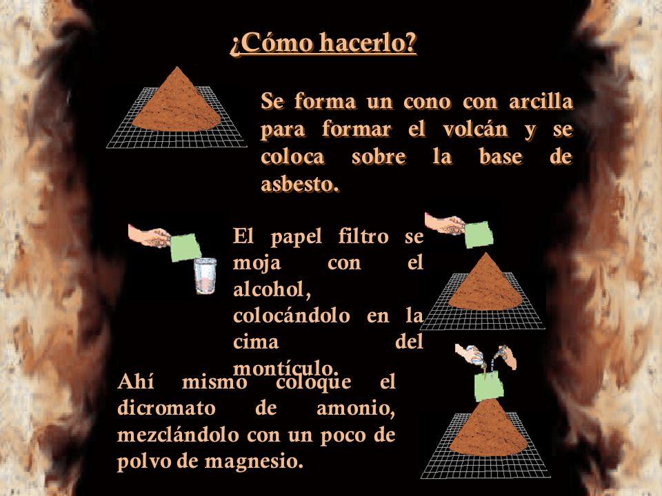 ¿Cómo hacerlo Se forma un cono con arcilla para formar el volcán y se coloca sobre la base de asbesto.