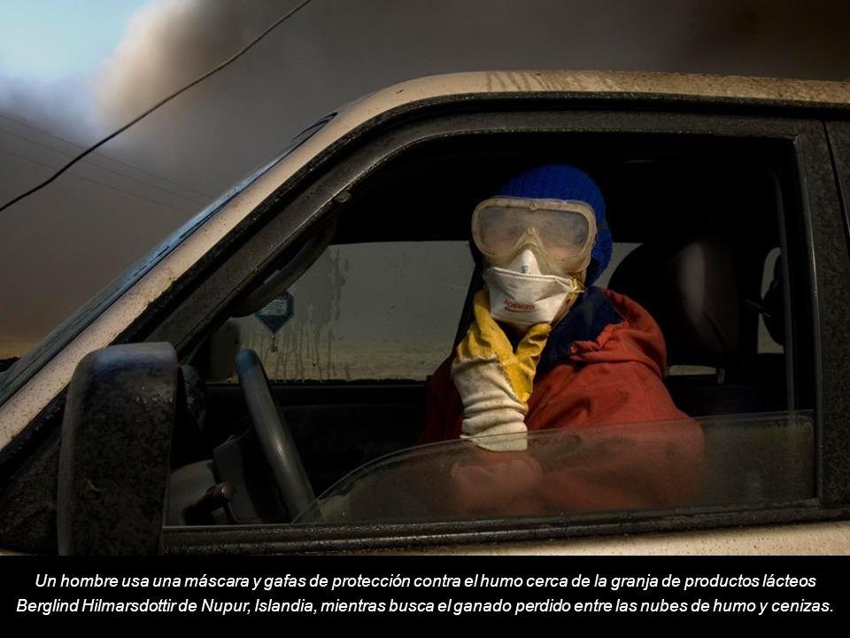 Un hombre usa una máscara y gafas de protección contra el humo cerca de la granja de productos lácteos Berglind Hilmarsdottir de Nupur, Islandia, mientras busca el ganado perdido entre las nubes de humo y cenizas.