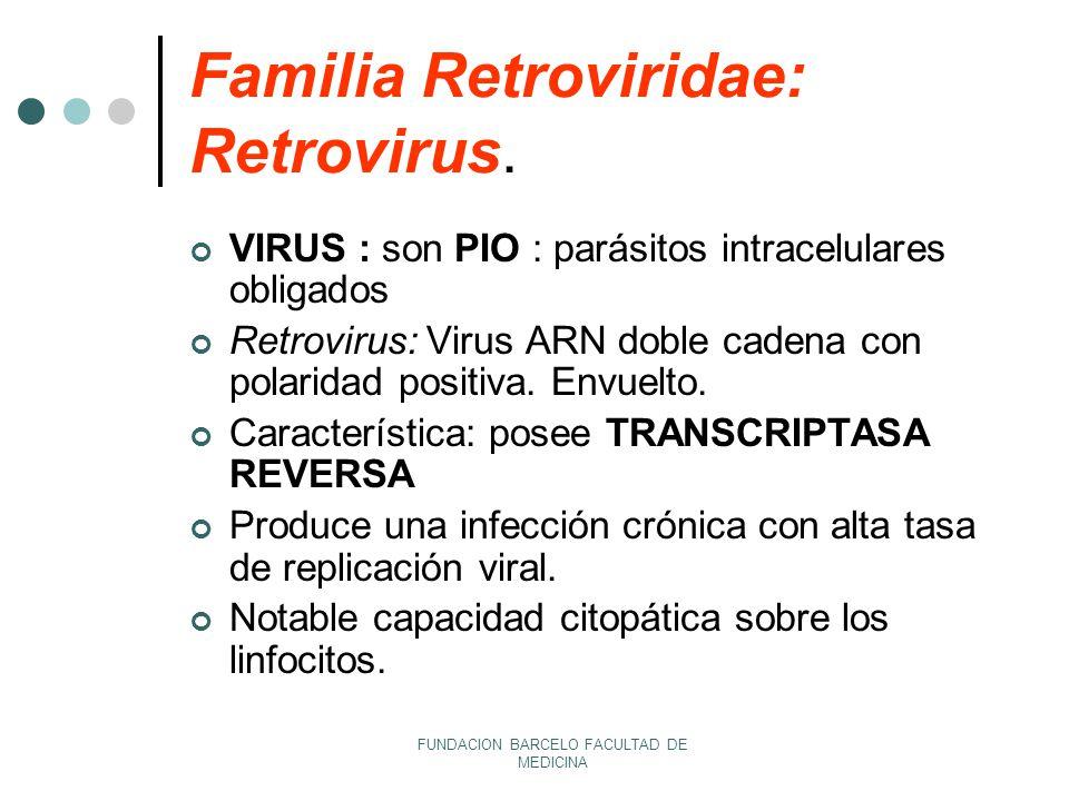 Familia Retroviridae: Retrovirus.