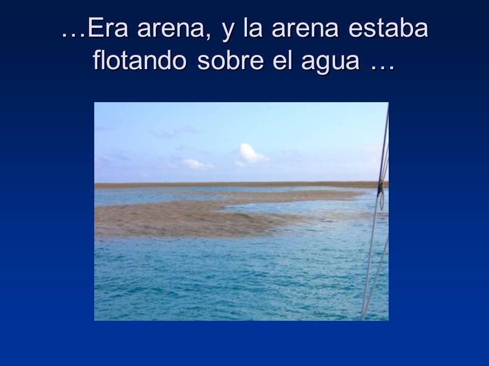 …Era arena, y la arena estaba flotando sobre el agua …