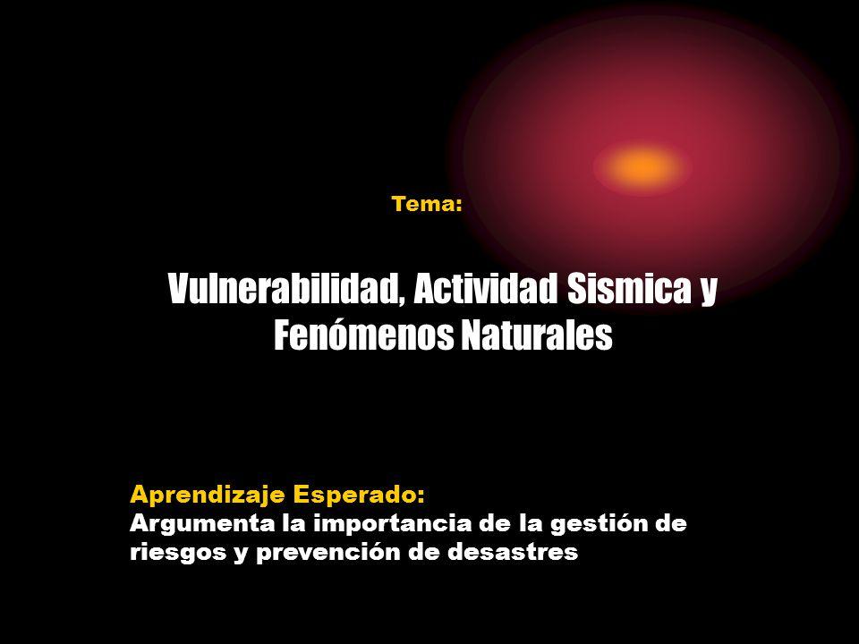 Vulnerabilidad, Actividad Sismica y Fenómenos Naturales