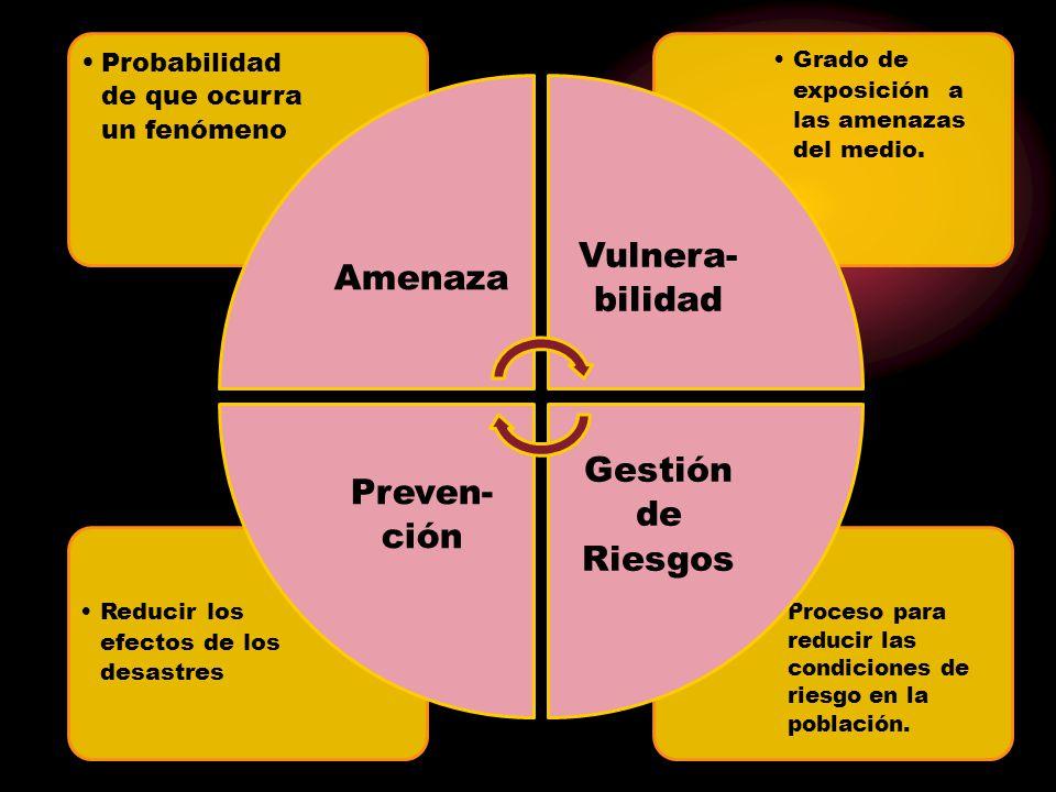 Gestión de Riesgos Vulnera-bilidad Preven-ción Amenaza
