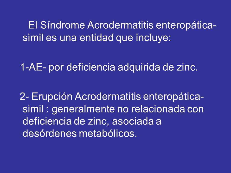 El Síndrome Acrodermatitis enteropática-simil es una entidad que incluye: