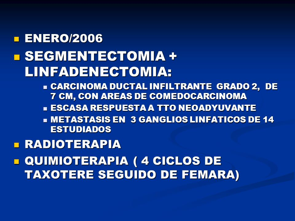 SEGMENTECTOMIA + LINFADENECTOMIA: